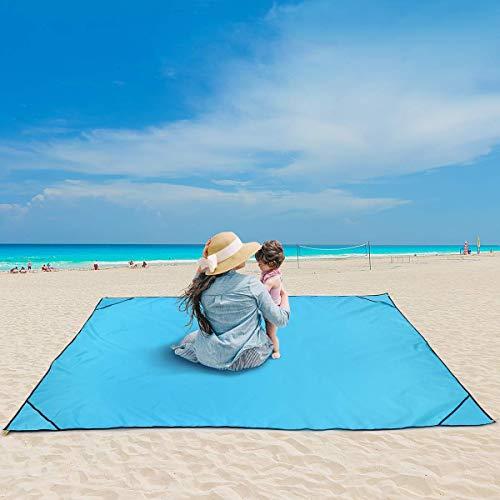 MOVTOTOP Stranddecke XL Strandmatte, Picknickdecke wasserdichte Sandabweisende mit Nylon Notfall Poncho Funktion, Tragbare Campingdecke mit 6 Metallstangen für Strand, Outdoor, Wiese