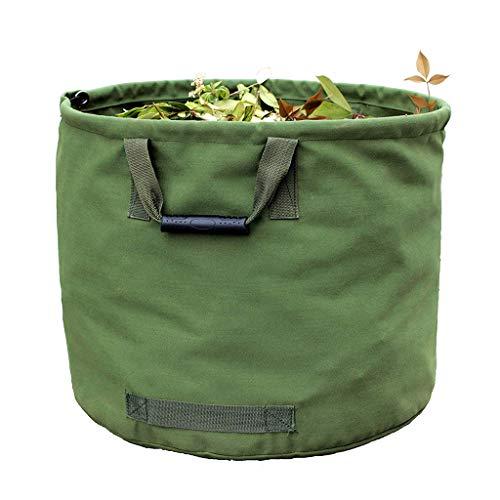 WHT 125L Gartenabfallsäcke für Schwere Aufgaben mit Griffen, Grüne Laubsack mit Militärischem Segeltuchgewebe (H45.7 cm, D55.8 cm)
