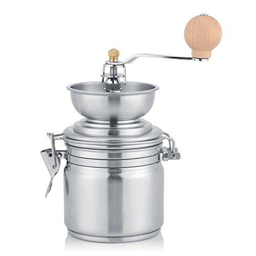 Fdit Kaffeemühle Manuelle Gewürz Nuts Schleifen Kräutermühle Edelstahl Maschinenstärke Einstellbare Handkurbel Werkzeug(Sliver)