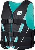 MESLE Auftriebs-Weste V210 W, Damen, XS-XL, schwarz-Aqua, 50-N Schwimmhilfe mit Prallschutz, für Frauen und Mädchen, Wasserski Wakeboard Impact-Weste, Nylon, Boot Jet-Ski Yacht, Größen:M