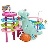 P Prettyia Elektrische Dinosaurier Parkhaus Rennbahn mit Spielzeugauto Spielzeug mit Musik und Lichter