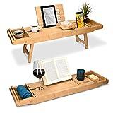 Navaris Bambus Badewannenablage Frühstückstablett ausziehbar - Buch Ablage Weinglas Halterung - Tablett für Badewanne und Bett - aus Holz in Braun