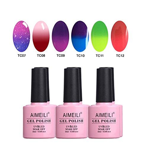 AIMEILI UV LED Thermo Gellack mehrfarbig ablösbarer Temperatur Farbwechsel Nagellack Chameleon Gel Polish Set Kit - 6 x 10ml - Set Nummer 15