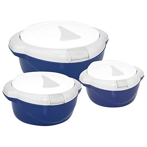 3-tlg. WELLGRO Thermoschüssel SET - 1500ml, 1000ml und 500ml, mit Taste zum öffnen des Deckels, mit Edelstahleinsatz, blau/weiß, Kunststoff