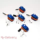 AZDelivery  5 x SG90 Micro Servo Motor 9G für RC Roboter Hubchrauber Flugzeug (5X SG90 Micro Servo)