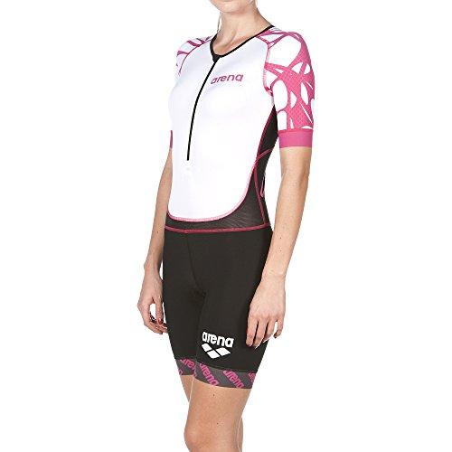 arena Damen Triathlon Einteiler (Kurze Ärmel, Frontreißverschluss ST, Atmungsaktiv, Aerodynamisch), Black-White-Fuchsia (509), XS/36