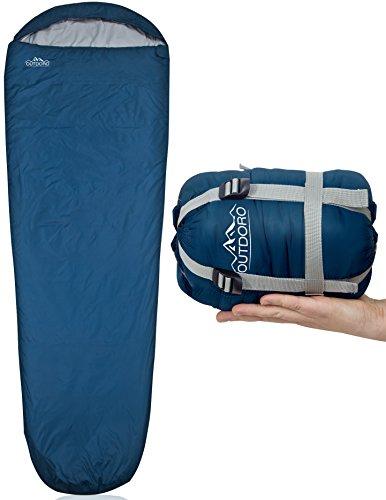 Outdoro ultraleichter Schlafsack - kleines Packmaß - leicht, dünn und warm - Idealer Sommerschlafsack, Mumienschlafsack für Herren, Damen, Erwachsene