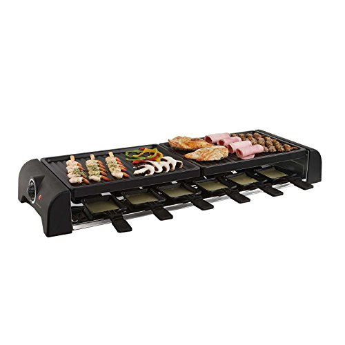 Großer Raclette Grill Grillplatte Tischgrill Elektrogrill 12 Personen 2 Grillplatten (12 Pfännchen, 1800 Watt, Antihaft-Beschichtung, Party-Grill)