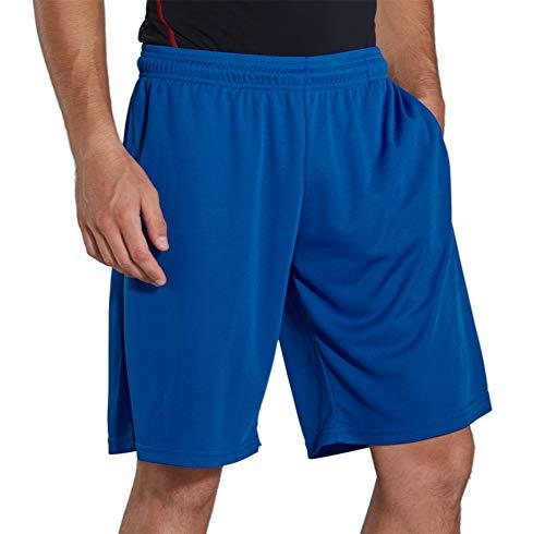 KomPrexx Sporthose Herren Kurz mit Taschen - SCHNELL TROCKNEND - Fitness Sport Shorts mit Kordelzug Kurze Trainingshose (PurpleBlue,XL)