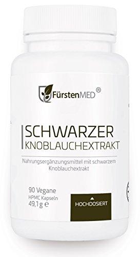 FürstenMED Fermentierter Schwarzer Knoblauch Extrakt - 90 Geruchlose Kapseln - Vegan - Immunsystem, Herz Kreislauf & Gesundheit