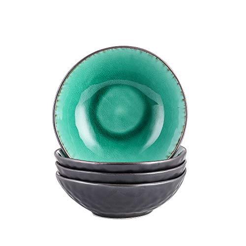 Vancasso Schalen Set, 4 teilig Coco Schüsseln aus Steingut, Raku Glasur Effekt Suppenschalen Müslischalen in Vintage Aussehen,Grün