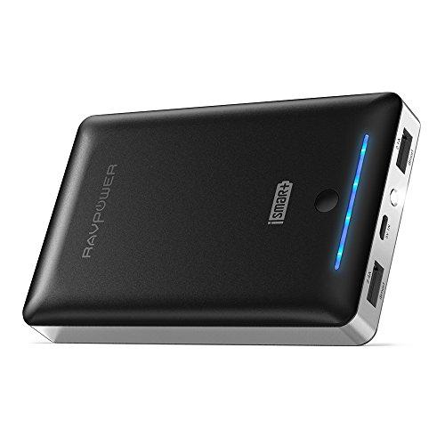 RAVPower 16750mAh Powerbank iSmart Externer Akku 4,5A Ausgang USB Ladegerät für iPhone 8, iPhone X, Galaxy 8, Note 8, iPad, HTC, Huawei, Sony, LG weitere Smartphones und Tablet, Schwarz