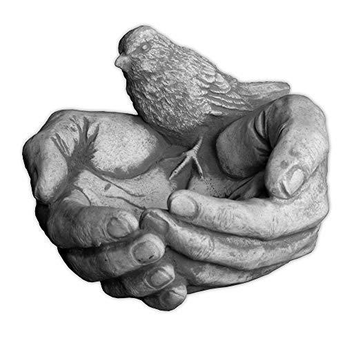 gartendekoparadies.de Massive Trinkschale Vogelbad Hand mit Vogel aus Steinguss frostfest