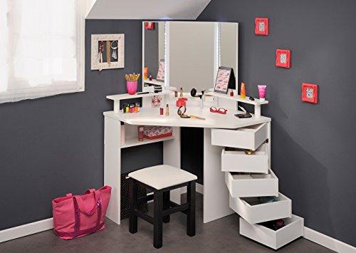Eck-Schminktisch + Hocker Frisierkommode Kommode Schminkspiegel Make up Spiegel Kosmetiktisch Kosmetik Set Mädchen Kinderzimmer Frisiertisch