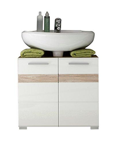 trendteam Badezimmer Waschbeckenunterschrank Unterschrank Set One, 60 x 56 x 34 cm in Korpus Eiche San Remo Hell Dekor, Front Weiß Hochglanz mit Siphonausschnitt in 28 x 7 cm