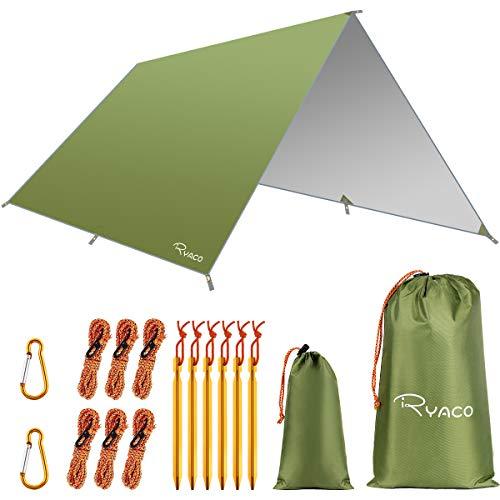 RYACO Camping Zeltplane, 3m x 3m Tarp für Hängematte, wasserdicht Leicht Kompakt Zeltunterlage Picknickdecke Hammock für Camping Outdoor Plane für Ourdoor Camping MEHRWEG