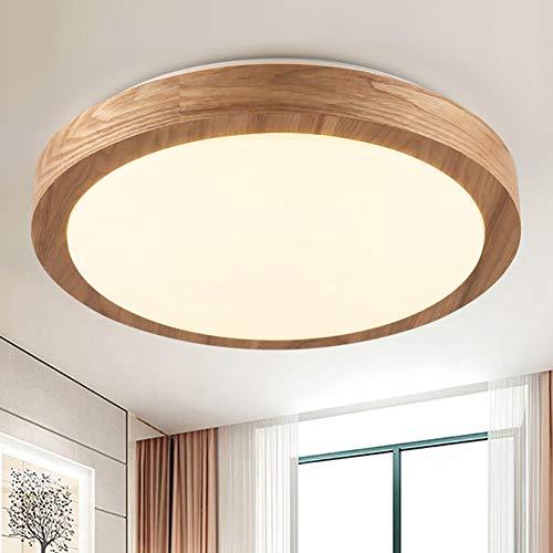 CBJKTX LED Deckenleuchte Deckenlampe dimmbar mit der Fernbedienung Holz Deckenbeleuchtung innen Wohnzimmerlampe Schlafzimmerlampe Nachttischlampe Φ34x9cm 16W*2 (Φ34cm)