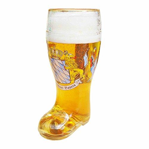 XXL Bierglas in Stiefel-Form Maßkrug Bierstiefel mit Goldrand Freistaat Bayern mit Löwen und Fahnen 1l