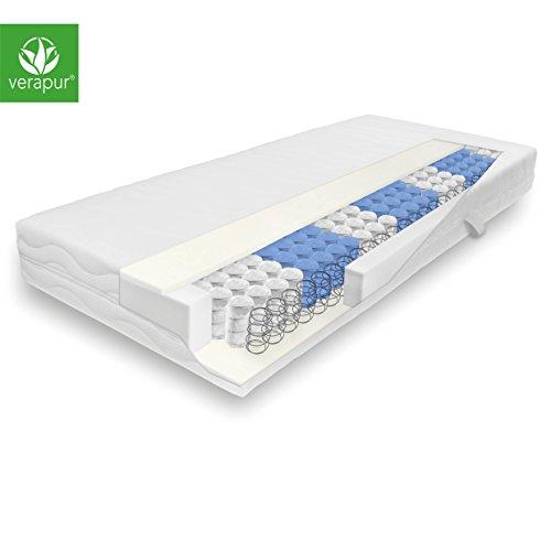 Verapur Classik Tonnen Taschenfederkern Matratze 90 x 200 cm / H3 Härtegrad (81-100 kg) / inkl. waschbarem Allergiker Matratzenbezug / 7 Zonen