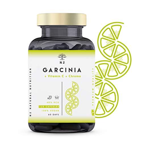 Garcinia Cambogia Hochdosiert Kapseln, Vitamin C und Chrom. Fettverbrenner, Appetitzügler, Abnehm. 1150mg, HCA 60%. 120 Pflanzliche Kapseln. Vegan Zertifiziert. CE Hergestellt. N2 Natural Nutrition