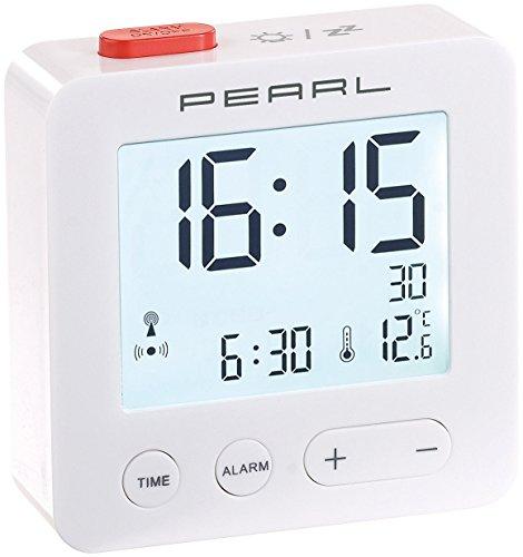 PEARL Funkwecker: Digitaler Reise-Funk-Wecker mit Thermometer und beleuchtetem Display (Digitaler Funkwecker)