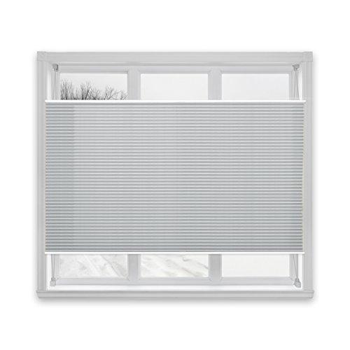 Floordirekt Plissee Rollo Magic   moderner Sichtschutz   Fensterrollo mit Klemmfix ohne Bohren   Klemmrollo   7 Farben & viele Größen (120x150 cm, Hellgrau)