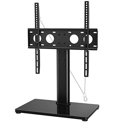 TV Standfuß, Höhenverstellbarer TV Ständer für 32-47 Zoll OLED LCD Plasma Flach & Curved Fernseher oder Monitor bis zu 40kg. Max.VESA 400x400mm, Kommt mit einem Metall TV Sicherungsgurt