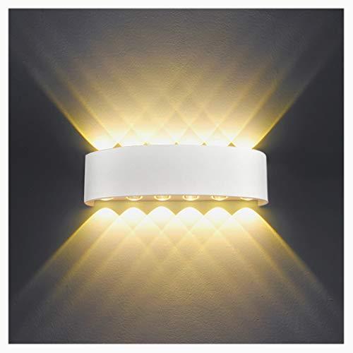 LED Wandleuchte Aussen Innen IP65 Weiss 12W Modern Wandlampe Aluminium Up Down Spotlicht Wandlicht für Schlafzimmer, Wohnzimmer, Bad, Flur, Treppe -Warmweiß 3050K
