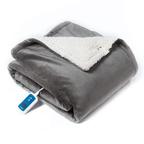 Bedsure Niederspannungs-Heizdecke mit Abschaltautomatik Überhitzungsschutz 100% Sicherheit Garantiert, Wärmedecke mit 21 Temperaturstufen und Timer 10 Stunden, Grau 130x180cm Waschbar Kuschelheizdecke