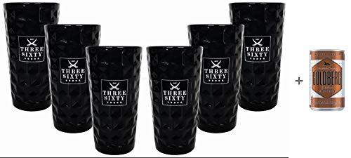Three Sixty Vodka Glas Gläser-Set - 6x Black Longdrink-Gläser schwarz