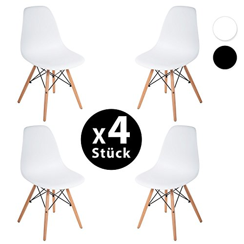 Merax 4 x Set Wohnzimmerstuhl Esszimmerstuhl Bürostuhl Kunststoff chair Eiffel/Eiffelturm Weiß/ Schwarz (weiss)