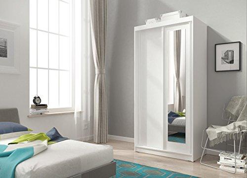 furniture24-eu Kleiderschrank Schwebetürenschrank Alaska mit Spiegel (100/206/58 cm B/H/T, weiß matt)
