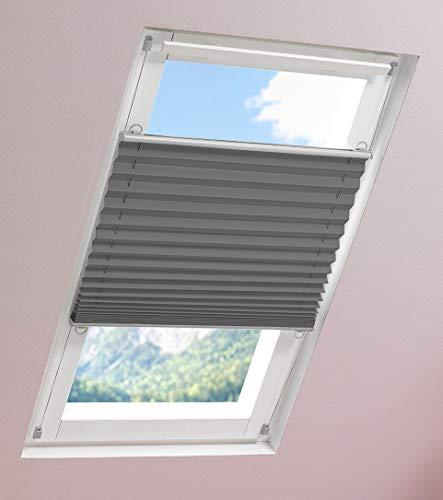 DECOLIA Universal Thermo-Dachfensterplissee verspannt mit Klemmträger, Verdunklung, Breite: 67 cm/Länge: 142 cm, Farbe: grau