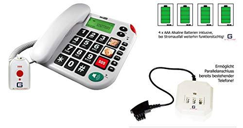 Senioren Festnetztelefon mit SOS Funkfernbedienung von G-TELWAREin DEUTSCH/HÖRGERÄTE-tauglich/ 4 Batterien/TAE/NFF Adapter/ 2 Jahre GARANTIE!