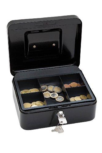 Wedo 145221X Geldkassette (aus pulverbeschichtetem Stahl, versenkbarer Griff, 5-Fächer-Münzeinsatz, Sicherheits-Zylinderschloss, 20 x 16 x 9 cm) schwarz