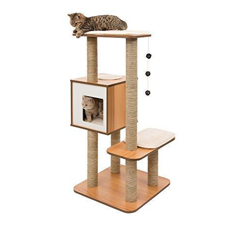 Vesper Katzenmöbel 'High Base' walnut - Kubus-Höhle mit zwei Plattformen