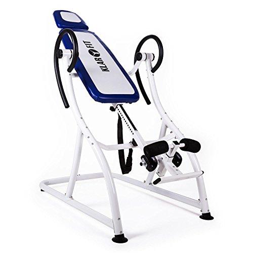 Klarfit Relax Zone Pro Inversionsbank Hang-Up-Rückentrainer Rücken-Bank (zur Streckung der Wirbelsäule, bis 150kg, verstellbar, für alle Altersgruppen, leichte Montage) weiß-blau