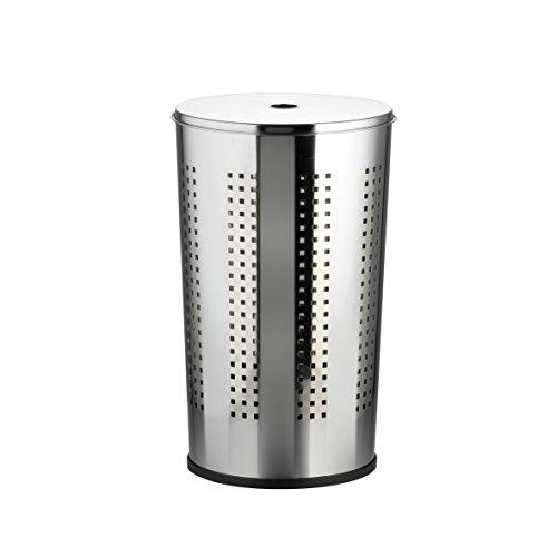Chrom Wäschebox Wäschekorb Wäschetonne verchromt mit Deckel 50 Liter
