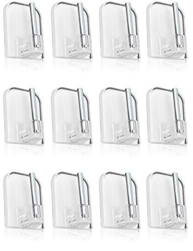 com-four 12 Selbstklebende Gardinenhaken für Vitragestangen, Farbe: transparent, Maße: 2,3 x 1,5 cm