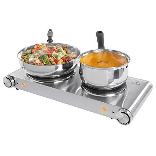 SUNAVO Doppel-Kochplatte 2 elektrisch doppel Kochfelder Herdplatte 1500& 1000Watt 15 und 18,5 cm Durchmesser stufenlos regelbare Temperatur pflegeleicht rostfreier Edelstahl silber
