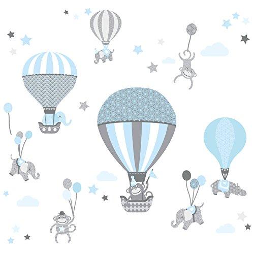 anna wand Wandsticker HOT AIR BALLOONS HELLBLAU/GRAU - Wandtattoo für Kinderzimmer / Babyzimmer mit Tieren in Heißluftballons versch. Farben - Wandaufkleber Schlafzimmer Mädchen & Junge, Wanddeko Baby / Kinder