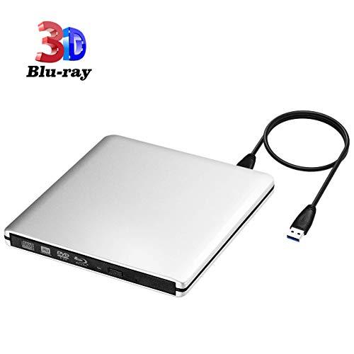 Externe Blu Ray DVD Laufwerk 3D 4K, USB 3.0 DVD/CD Blueray Player, Portable Slim Blueray Brenner superdrive, Plug&Use, Niedriger Lärm, für PC MacBook iMac Mac OS Windows 7/8/10/Vista/XP