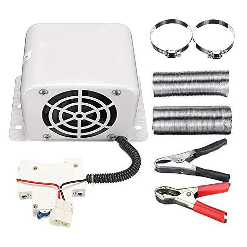Lionina Tragbare elektrische Heizung, 800W 12V 24V geräuscharmes Auto 2 Löcher elektrische Heizung, universelle energiesparende Fahrzeug-Heizlüfter Defroster