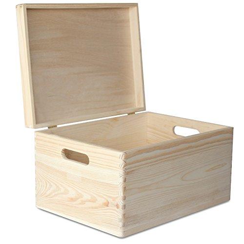XXL Große Holz-Kiste mit Deckel Erinnerungsbox | 40 x 30 x 24 cm | Holzbox Aufbewahrungsbox Spielzeugkiste Unlackiert Kasten | mit Griffen | Ideal für Wertsachen, Spielzeuge und Werkzeuge