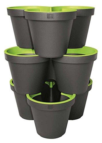 3er Set E&K Pflanztopf Säulentopf Stapelbar aus Kunststoff, Farbe:anthrazit/maigrün