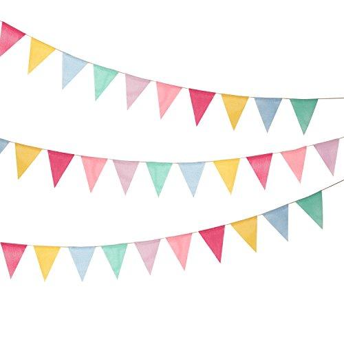 18 Flaggen Nachgeahmt Sackleinen Wimpel Banner, Mehrfarbig Stoff Dreieck Flagge Bunting für Party Hängende Dekoration