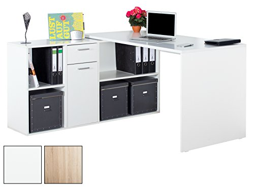 RICOO Winkelkombination Schreibtisch Weiss Arbeitstisch Computer Tische WM081W Office Table Bürotisch Computertisch Gaming Eckschreibtisch Regal Schubladen Organizer Akten Schrank Holz Lowboard
