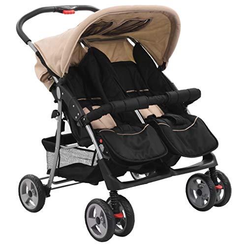 vidaXL Zwillingswagen Kinderwagen Geschwisterwagen Zwillingsbuggy Baby Kleinkinder Taupe Schwarz Stahl 6-36 Monate Nebeneinander Klappbar