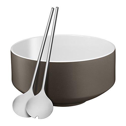 WMF Salatschale 3-teilig Salatschüssel Salatbesteck Lava Grey Satin Moto Cromargan Edelstahl rostfrei spülmaschinengeeignet
