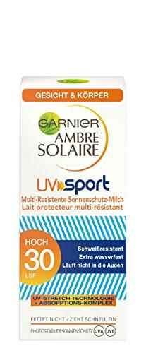 Garnier Ambre Solaire Sonnencreme UV Sport/schweißfester Sonnenschutz für Gesicht und Körper/LSF 30, 1er Pack (1 x 50 ml)